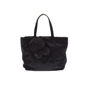 Prada Handbag Agate Motif Black BN 1660 Ladies Satin AB Rank PRADA with Gallery Mirror Used Ginzo