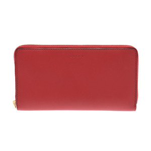 Gucci Nim Fair Round Zipper Wallet Bamboo Red Ladies Calf A Rank Beauty Product GUCCI Used Ginzo