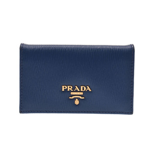 Card case with Prada gusset Blue Men's Ladies Calf Business Holder AB rank PRADA Used Ginzo