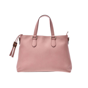 Gucci 2WAY van bootto bag pink ladies calf new same beauty product GUCCI with strap used Ginzo