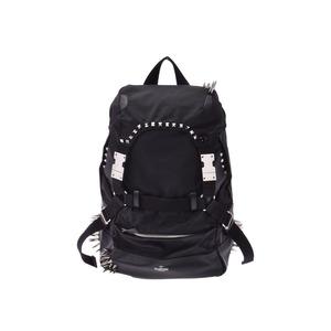 Valentino Backpack Black Men's Women's Nylon / Calf Studs Rucksack A Rank Beauty Product VALENTINO Used Ginzo