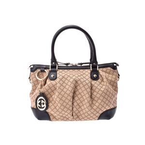 Gucci Diamante 2WAY handbag Beige / Black Ladies Canvas Leather AB rank GUCCI with strap Used Ginzo