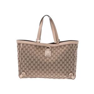 Gucci tote bag beige / cream women GG canvas leather B rank GUCCI used Ginzo