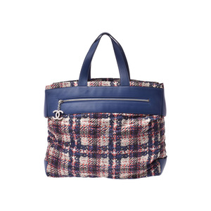 Chanel tote bag tweed print / blue-based women's nylon leather AB rank CHANEL Galla Used Ginzo