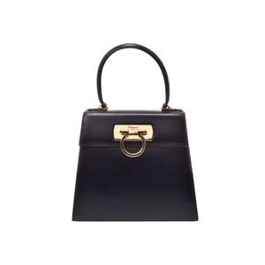 Ferragamo Gancini 2WAY Handbag Black Ladies Calf B-rank FERRAGAMO with strap Used Ginzo