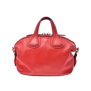 Givenchy Micro Nightingale Red Ladies Calf 2WAY bag AB rank GIVENCHY with strap Used Ginzo