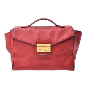Prada 2WAY handbag red G metal fittings BR5034 Women's leather B rank PRADA Gala with strap Used Ginzo