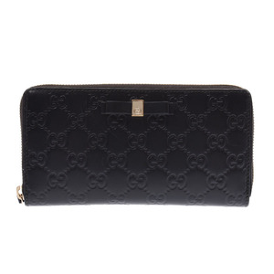 Gucci Guccisima Round zipper long wallet Ribbon Black Ladies leather AB rank GUCCI used Ginzo