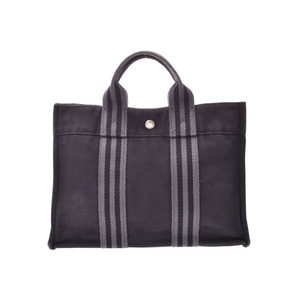 HERMES FOURTO Tote PM Black SV Bracket Men's Women's Canvas Handbag B Rank Used Ginzo