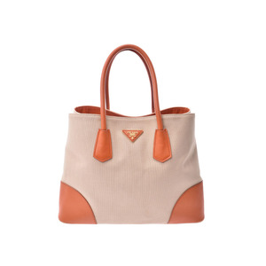 Prada 2WAY Tote Bag Beige Orange Ladies Canvas / Leather B Rank PRADA Used Ginzo