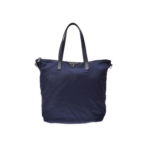 Prada 2WAY tote bag 紺 Men's Women's Nylon A rank good product PRADA with strap Used Ginzo