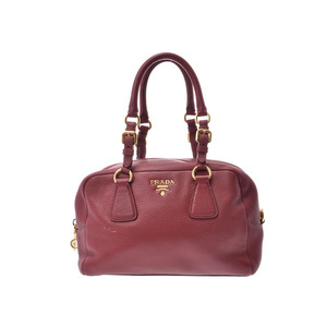 Prada Mini Boston Bag Red B3091M Ladies Calf B Rank PRADA Galla Used Ginzo