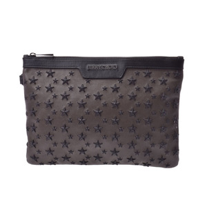 Jimmy Choo Clutch Bag Star Studs Brown / Black Men's Ladies Calf AB Rank JIMMY CHOO Used Ginzo