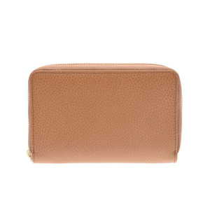 Gucci round zipper wallet outlet light brown based men's women's leather unused beauty goods GUCCI box used Ginzo