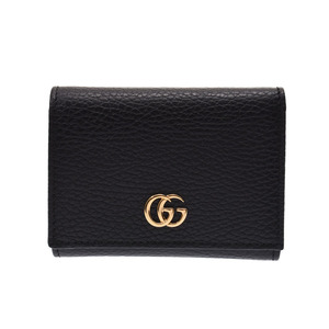 Gucci Petit Marmont compact three-fold wallet black G hardware ladies calf unused beauty goods GUCCI box used Ginzo