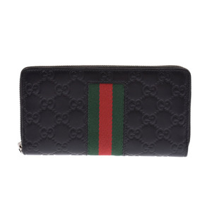 Gucci Signature Web Round Zip Long Wallet Black Men's Ladies Leather AB Rank GUCCI Used Ginzo