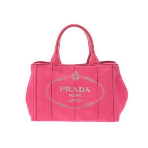 Prada Kanapamini Pink Women's Canvas 2WAY Tote Bag B Rank PRADA With Strap Used Ginzo