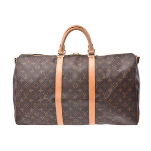1978a0b5066e Louis Vuitton Monogram Kiepol 50 Bundriere Brown M41416 Men's Women's  Genuine Leather Boston Bag AB Rank