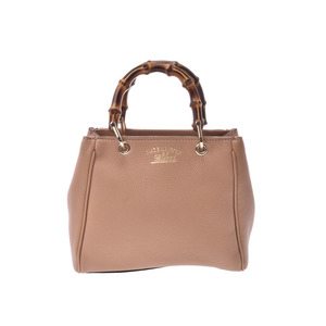 Gucci Bamboo 2WAY handbag Beige-based women's leather / bamboo A rank GUCCI with strap Used Ginzo