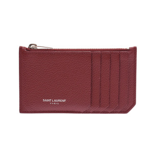 Saint-Laurent Coin Case Card Bordeaux Women's Leather A rank Beauty Product SAINT LAURENT Used Ginzo