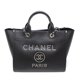 CHANEL Deauville Studs logo 2 way chain shoulder A57069 caviar skin black (black) 25 stand