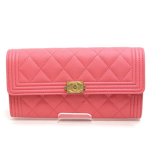 CHANEL Chanel Boy Long Bi-Fold Wallet A80286 Pink Caviar Skin 25 Series