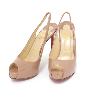Christian Louboutin Platform Pumps PRIVATE NUMBER 120 Patent Nude 1150688 Open Top