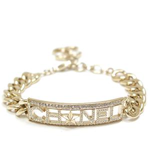 CHANEL logo plate chain bracelet light gold metal rhinestone 19.5cm A17C star coco mark