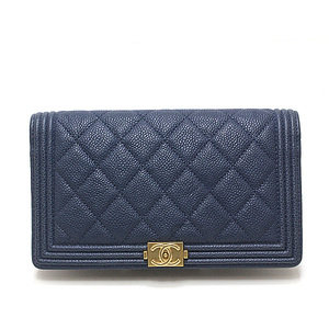 CHANEL Chanel Boy Long Bi-fold Wallet A80285 navy × green caviar skin
