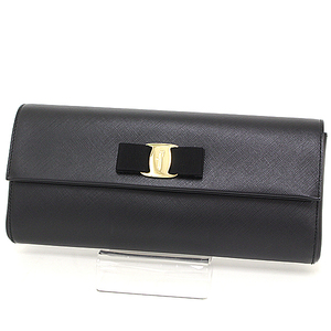 Salvatore Ferragamo chain shoulder bag Safiano leather black gold hardware 22C354 619442 clutch