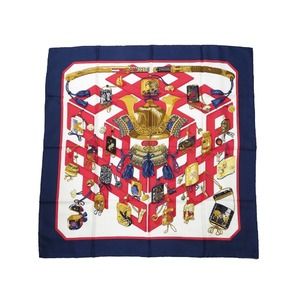 Hermes Calle 90 REVERIES JAPONAISES Longing for Japan 100% Silk Navy Scarf 0032 HERMES