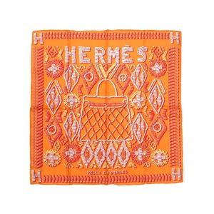 Hermes Calle 70 KELLY EN PERLES Kerry silk 100% orange scarf made of pearl 0081 HERMES