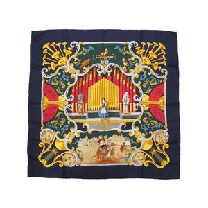 Hermes Carre 90 ORGAUPHONE Pipe Organ and Mechanical Instruments 100% Silk Navy Scarf 0082 HERMES