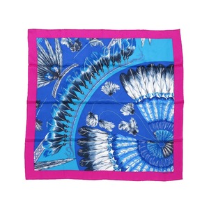 Hermes Carre 65 Feather Pattern 100% Silk Blue Purple Scarf 0019 HERMES