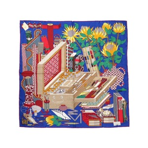 Hermes Calle 90 Les tresors d'un Artiste Treasure of a Painter 100% Silk Blue Scarf 0115 HERMES