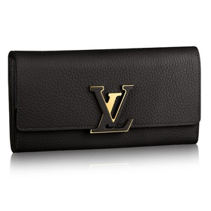 Louis Vuitton Taurillon Portfolio-Capuccine Purse Women's  Taurillon Leather Wallet Noir,Pink