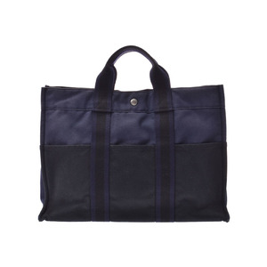 HERMES FOURTO MM 紺 / Black Men's Womens Canvas Tote Bag C Rank Used Ginzo