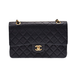 Chanel Matrasse Chain shoulder bag Double lid Black G hardware Women's lambskin AB rank CHANEL Used Ginzo