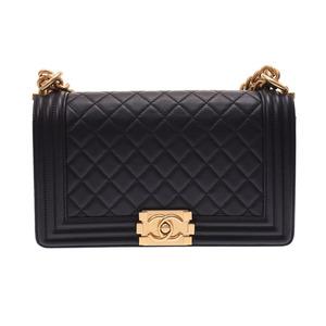 シャネル(Chanel) シャネル ボーイシャネル チェーンショルダーバッグ 黒 G金具 レディース ラムスキン 新同 美品 CHANEL 中古 銀蔵