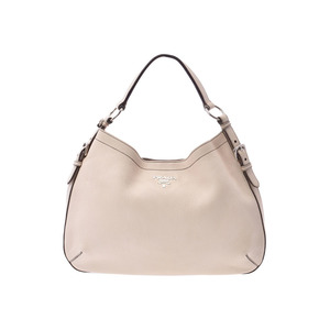 Prada shoulder bag ivory-based SV metal fittings ladies calf AB rank PRADA used Ginzo