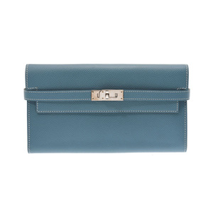 Hermes Kelly wallet Blue Jean SV metal fittings □ P engraved Men's Women's Epson long A rank beauty goods HERMES used Ginzo