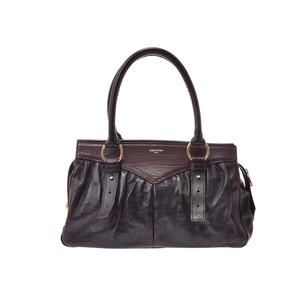 Saint-Laurent handbags dark brown leather women's B rank YVES SAINT LAURENT used Ginzo