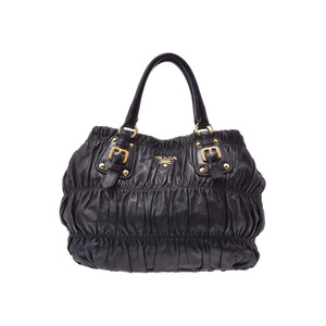Prada 2WAY handbag black G hardware Women's lambskin B rank PRADA with strap Used Ginzo