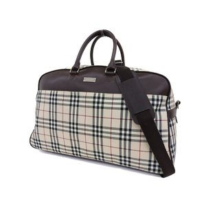 BURBERRY Burberry plaid 2way boston bag canvas leather brown ivory travel shoulder [20190322]