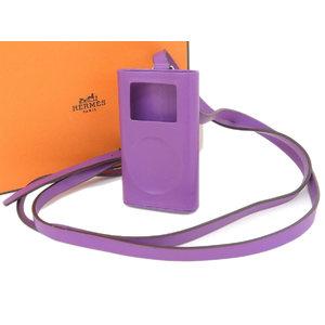 HERMES エルメス iPod miniケース ネックストラップ アイポッド ボックスカーフ 紫 シクラメン [20190208]