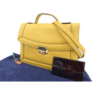 BOTTEGA VENETA Bottega Veneta vintage 2way handbag leather yellow shoulder [20190322]