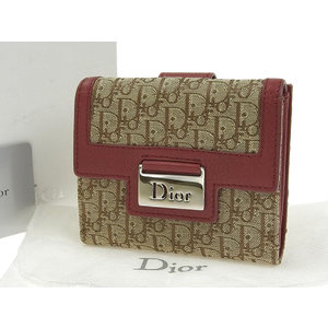 Christian Dior Trotter Vintage Compact Wallet Purse Canvas Leather Red Beige [20190416]