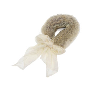New as well HERMES coyote fur silk shawl stall tippet beige ivory [20190208]