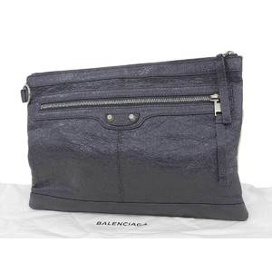 BALENCIAGA Balenciaga Clip M Second Bag Leather Gray Clutch [20190315]