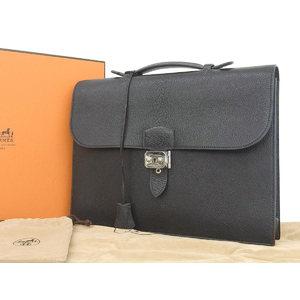 HERMES Hermes Fjord Sac Adepeche 35 Briefcase Black □ D engraved [20180803]